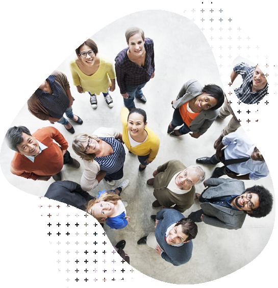 Group of people standing in circle
